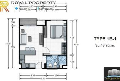 City-Center-Residence-Condominium-Resort-Central-Pattaya-купить-квартиру-в-Паттайе-снять-апартаменты-агентство-недвижимости-Royal-Property-room-plan-1B-1