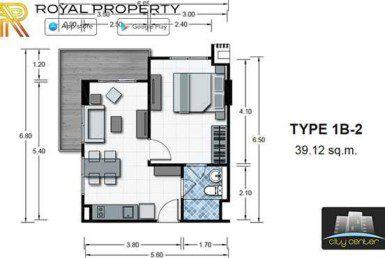 City-Center-Residence-Condominium-Resort-Central-Pattaya-купить-квартиру-в-Паттайе-снять-апартаменты-агентство-недвижимости-Royal-Property-room-plan-1B-2