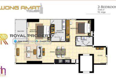 Wongamat-Tower-Naklua-Pattaya-unit-plan-room-f-купить-квартиру-в-Паттайе-Таиланд-агентство-недвижимости-Royal-Property-1024x621