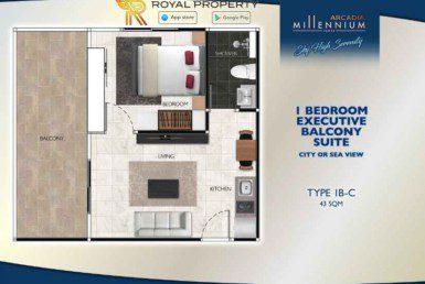 Arcadia-Millennium-Tower-Condo-Pattaya-купить-квартиру-в-Паттайе-аренда-апартаментов-агентство-недвижимости-Royal-Property-Type-1B-C-43-sqm