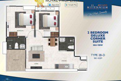 Arcadia-Millennium-Tower-Condo-Pattaya-купить-квартиру-в-Паттайе-аренда-апартаментов-агентство-недвижимости-Royal-Property-Type-2B-D-58.5-sqm-1024x724