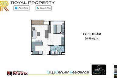 City-Center-Residence-Condominium-Resort-Central-Pattaya-купить-квартиру-в-Паттайе-снять-апартаменты-агентство-недвижимости-Royal-Property-room-plan-1B-1M