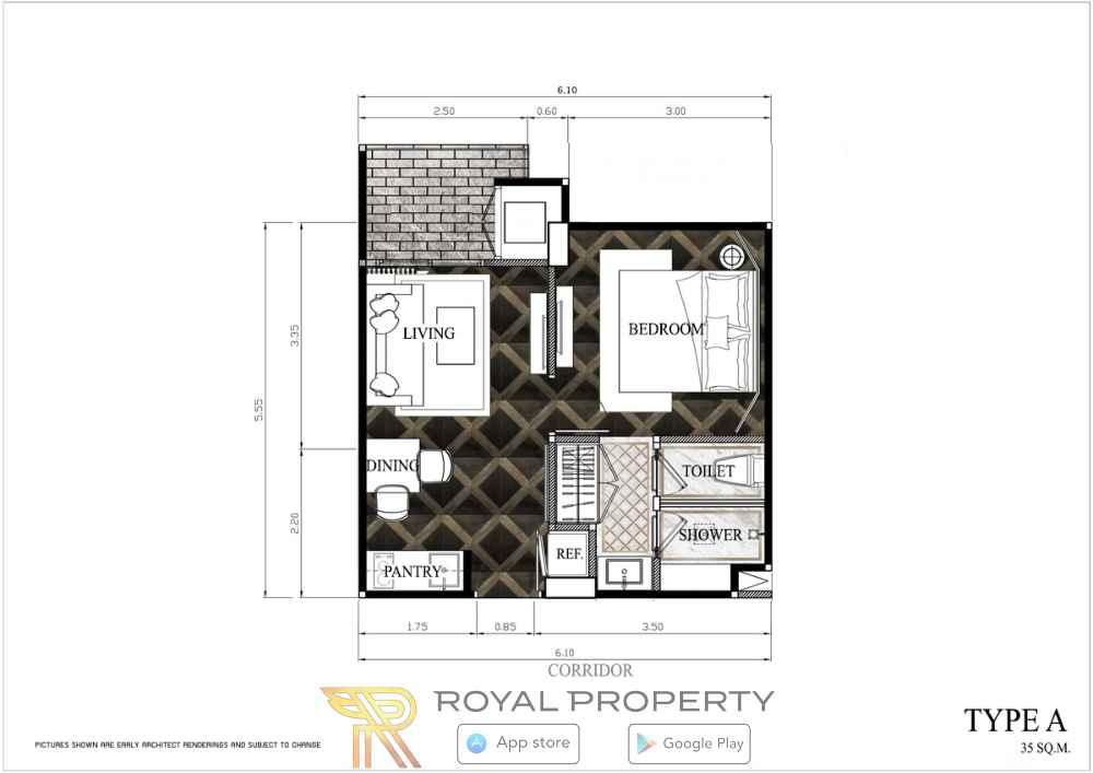 Espana-Condominium-Resort-Jomtien-Pattaya-недвижимость-в-Таиланде-купить-снять-планировка-TYPE-A-MIRROR